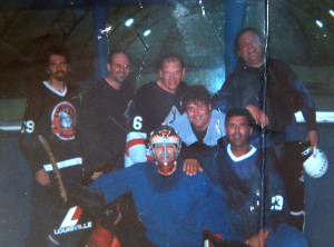Hosers playing in a local roller hockey league at the La Mesa Roller Hockey Center, circa 1981. Back row: Blair Clearer, Unknown, Fran Weidinger, Marco Thompson. Front row: Andy Wozny, Gary Griffiths, Dave Moniz.