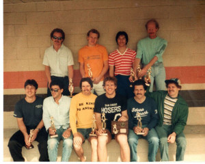 This is a rare 1984 photo of the Hosers after winning a tournament in Garden Grove hosted by the Golden West Hockey League (GWHL). Top row, left to right: Greg Weidinger, Fran Weidinger, Joe O'Keefe , Paul Chapey. Bottom row: Richard Sheehan, Dave Moniz, Blair Cleaver, Marco Thompson, Wayne Milack, Andy Wozny.