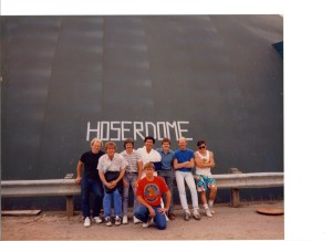 1987 USARS Nationals, Mr. Clemens, MI. Left to right, back row: Fran Weidinger, Blair Cleaver, Dave Moniz, Andy Wozny, Paul Chapey, K.C. Kasinak. Kneeling in front: Marc Adams. This is the first ever National Championship attended by the Hosers.