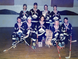 "The Hosers had multiple farm teams that would also entered Nationals such as the ""San Diego Sharks."" This pic is when the Sharks entered the USAC nationals in 1990. They placed 2nd in the Bronze Division. The players are Back Row: Eddie Lough, Paul ?, Mark Weidinger, Dennis Amyot, Front Row: Bobby Smith, Barry Buckley, Donnie Thomson, Doug Fraser, Pat Trekel."