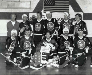 This is the Hoser team that attending the 1991 New York/New Jersey invitational roller hockey tournament, one of the first times inline teams had faced off against New York's outdoor teams. Back Row: Paul Chapey (Coach), Bobby Smith, Dan Gyokery, Marco Thompson, Dennis Amyot, Francis Weidinger, Front Row: Greg Stoike, Mike Leviten, Donny Thompson, Marc Cline, Jim Hatch.