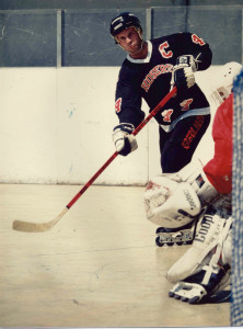 Hoser captain Jim Hatch in probably 1991. The goalie is Donny Thomson.