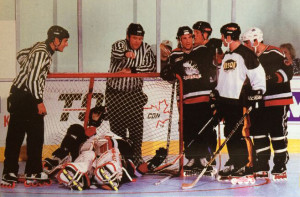 1997 NARCh Finals in which the Hosers lost to Team Mission in the Semis, due to a disallowed Goal that Hoser swear was due to Joe Cook purposely moving the goal.