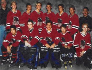 Hoser U14 team around the 1999-2000 era. Front Row: Gary Romo, Jeff Meadowcroft, Jarrod Barton, Sean Birkle, Eric Bernad. Back Row: Coach Bryan Broderick, Mike Davis, Mark Chapparone, Erik Eyersbeck, Kevin Swanberg, Kyle Broderick, Drew Henry, Coach Ed Bernad.