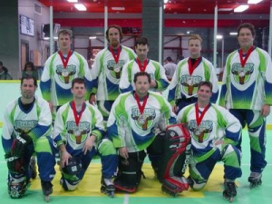 "2006 NARCh Winter Nationals. Hosers place 2nd losing to the Arizona Mission Stars. Front Row, L to R: Kevin Labeda, Randy Garvey, Donny Thomson, Rich Garvey. Back Row, L to R: Daryn Goodwin, Bill Miller, Darren Chula, Donny ""Swede"" Holmstrom, Joe Noris."