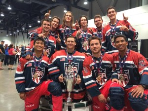 Hosers place 1st in the U21 International Division at Jr. Olympics, 2014. Back Row: Reed Kinsey, Eric Baldwin, David Baldwin, Charles Baldwin, Jon Gauthier, Alec McCrea. Front Row: Anthony Mata, Zach Cummings, Steve Sherman, Keiko Latimore.