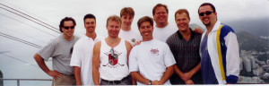 "Unofficially representing the U.S.A., a group of Hosers went to Brazil in 1999 to attend the ""First Annual Brazil International Invitational"" in Vrazuk. Left to Right: Donny Thompson, unknown, Maukka Arminen, Stefan Grogg, Charley Becker, Marco Thompson, Unknown, Bill Miller. Not pictured but on the trip was Mike Duffey."
